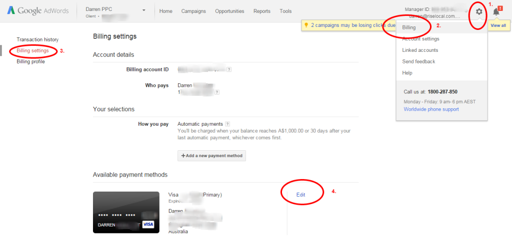 How to update credit card details in Google Adwords