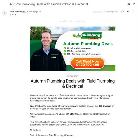 Screenshot of Email Newsletter
