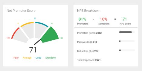Screenshot of Net Promoter Score Summary Breakdown