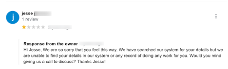 Screenshot of a Negative Review