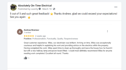Screenshot of Social Post Positive Review