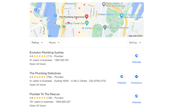 Google Plumbers Search Results