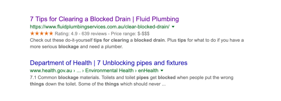 Fluid Plumbing Blog Post appearing 1st page of google