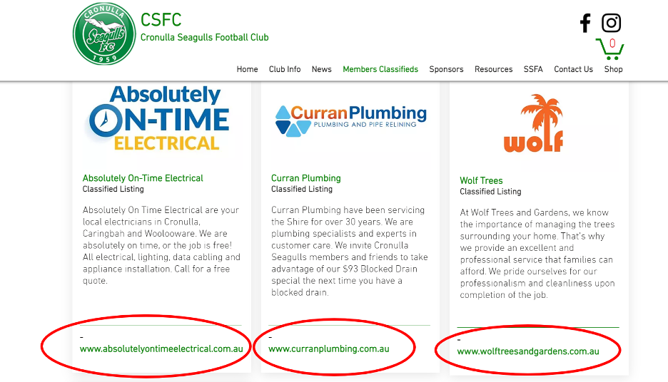Cronulla Seagulls Football Club Member Classifieds