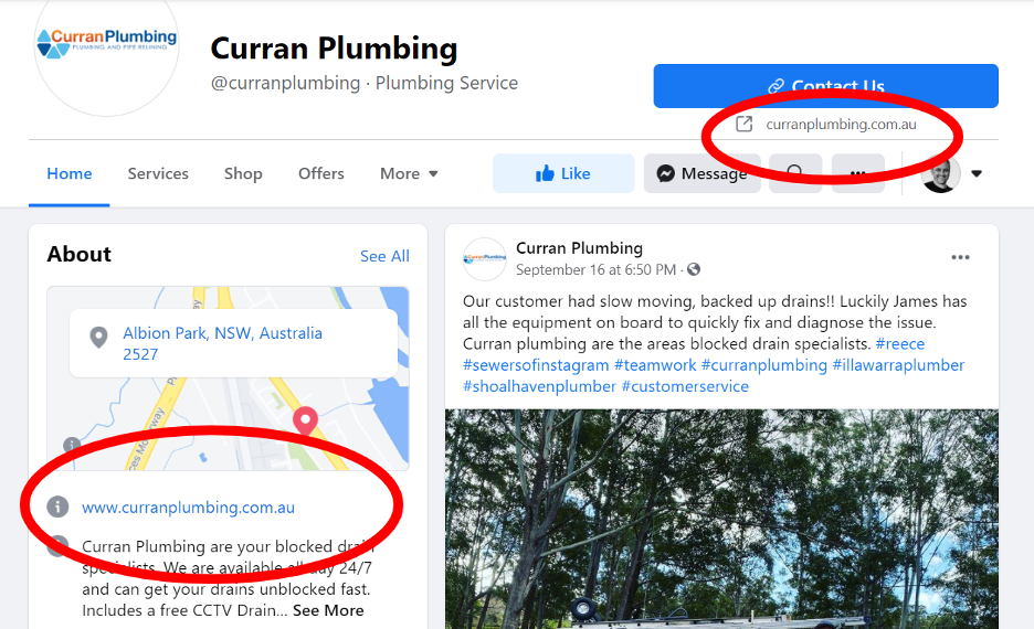 Curran Plumbing Facebook Page