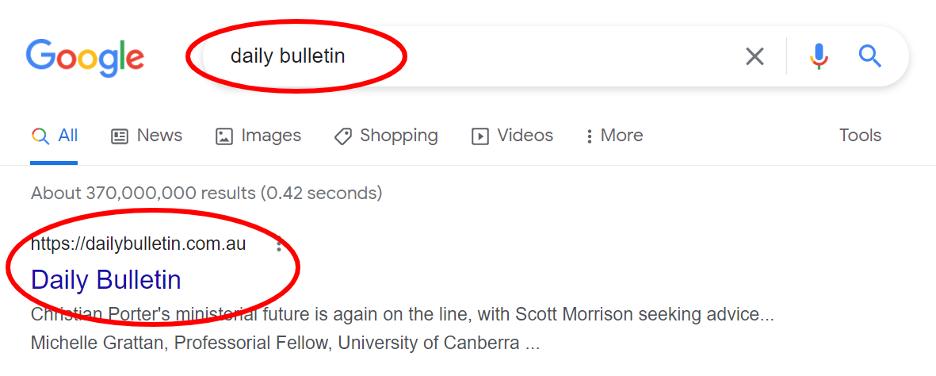 Google Search result for publisher website
